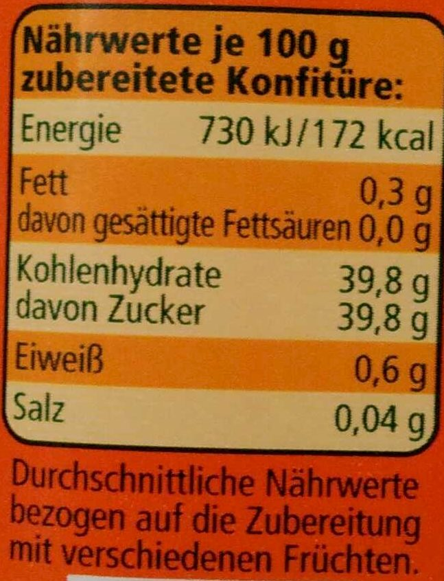 Extra Gelierzucker 2:1 - Nutrition facts