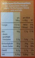 Dr. Oetker Brownies Backmischung - Informations nutritionnelles - de