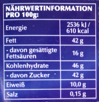 Ganznuss - Nutrition facts - de