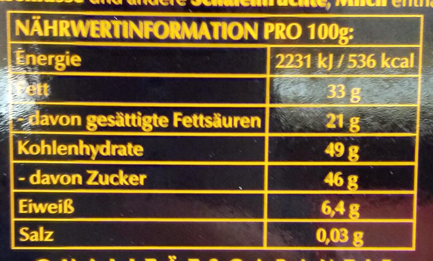 Edelbitter Mousse Orange - Nutrition facts - de