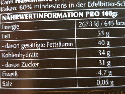 Lindor Dunkel 60% - Ingrédients