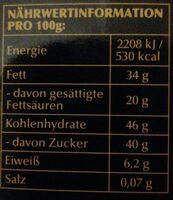 Lindt & Sprüngli, Sauerkirsch Chili - Informations nutritionnelles - de