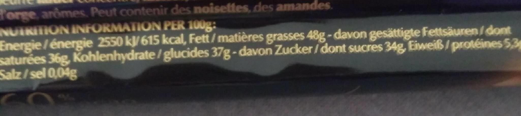 Lindor Extra Dunkel - Informations nutritionnelles - fr