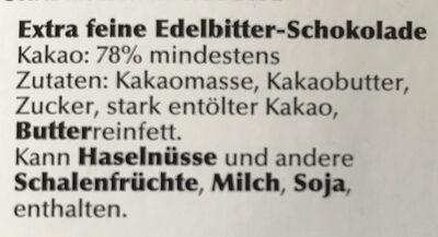 78% Edelbitter Vollmundig - Zutaten - de