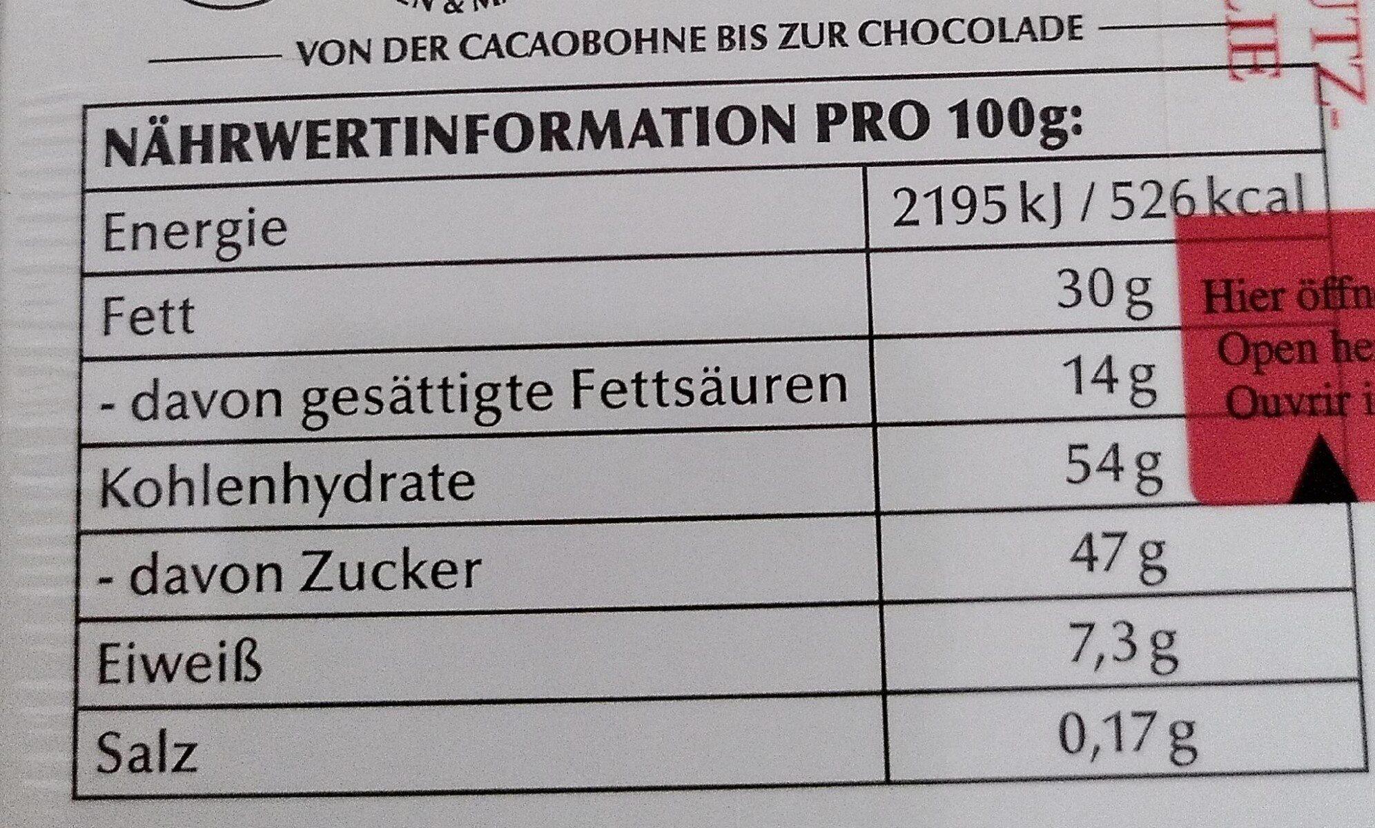 Lindt Mini Pralines - Informação nutricional - de