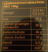 Edelbitter Mousse Schwarze Johannesbeere - Informations nutritionnelles - de