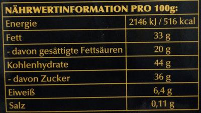 Edelbitter Mousse Schwarze Johannesbeere - Informations nutritionnelles