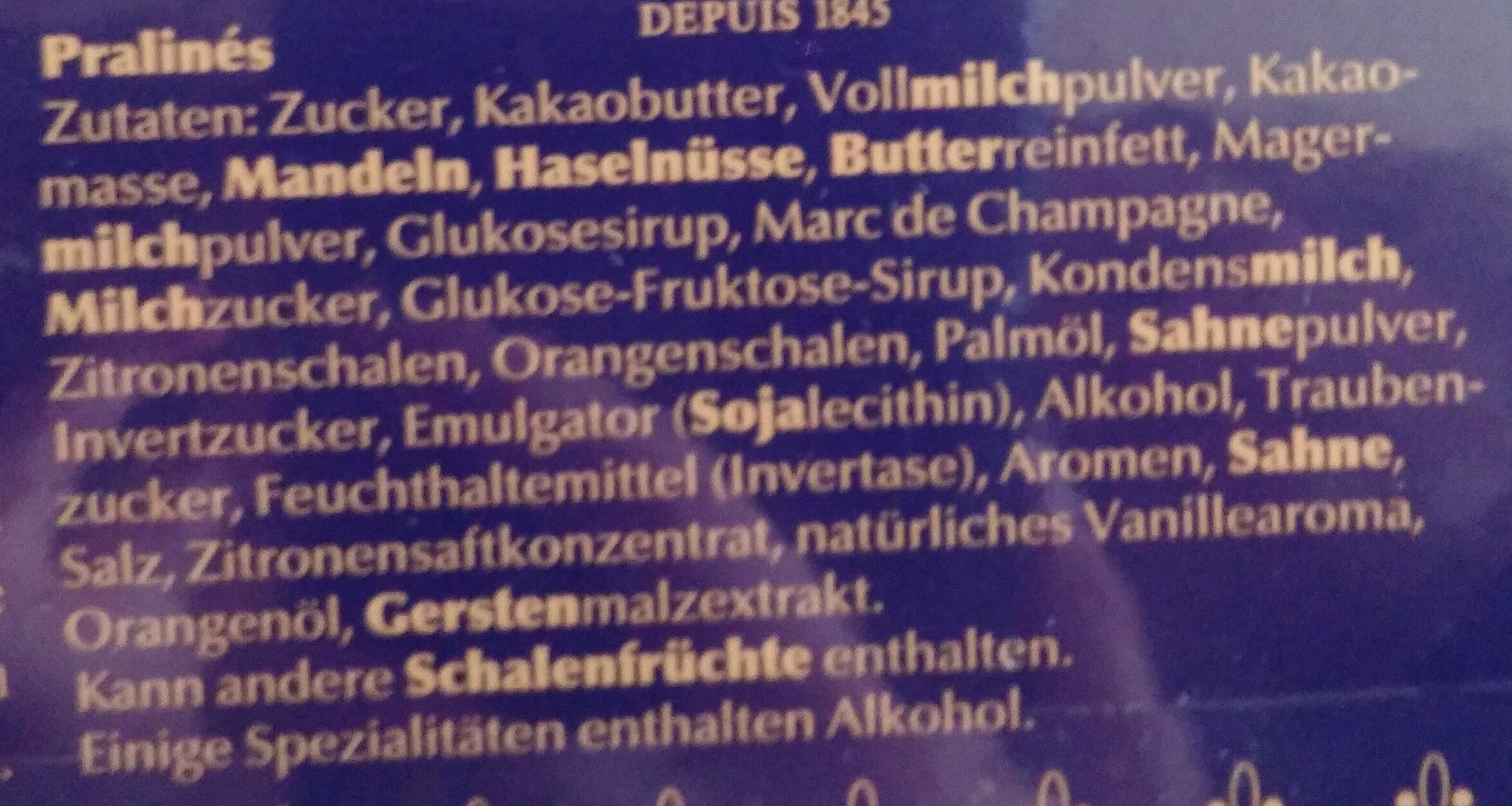Pralinen - Inhaltsstoffe