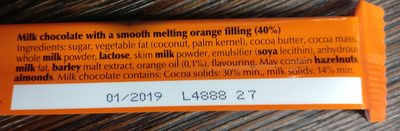 Lindor Orange Milk Chocolate Bar - Ingredients