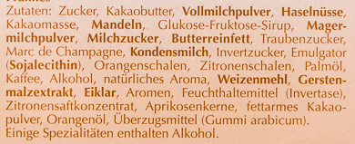 Pralinés Hell & Zart - Ingredients