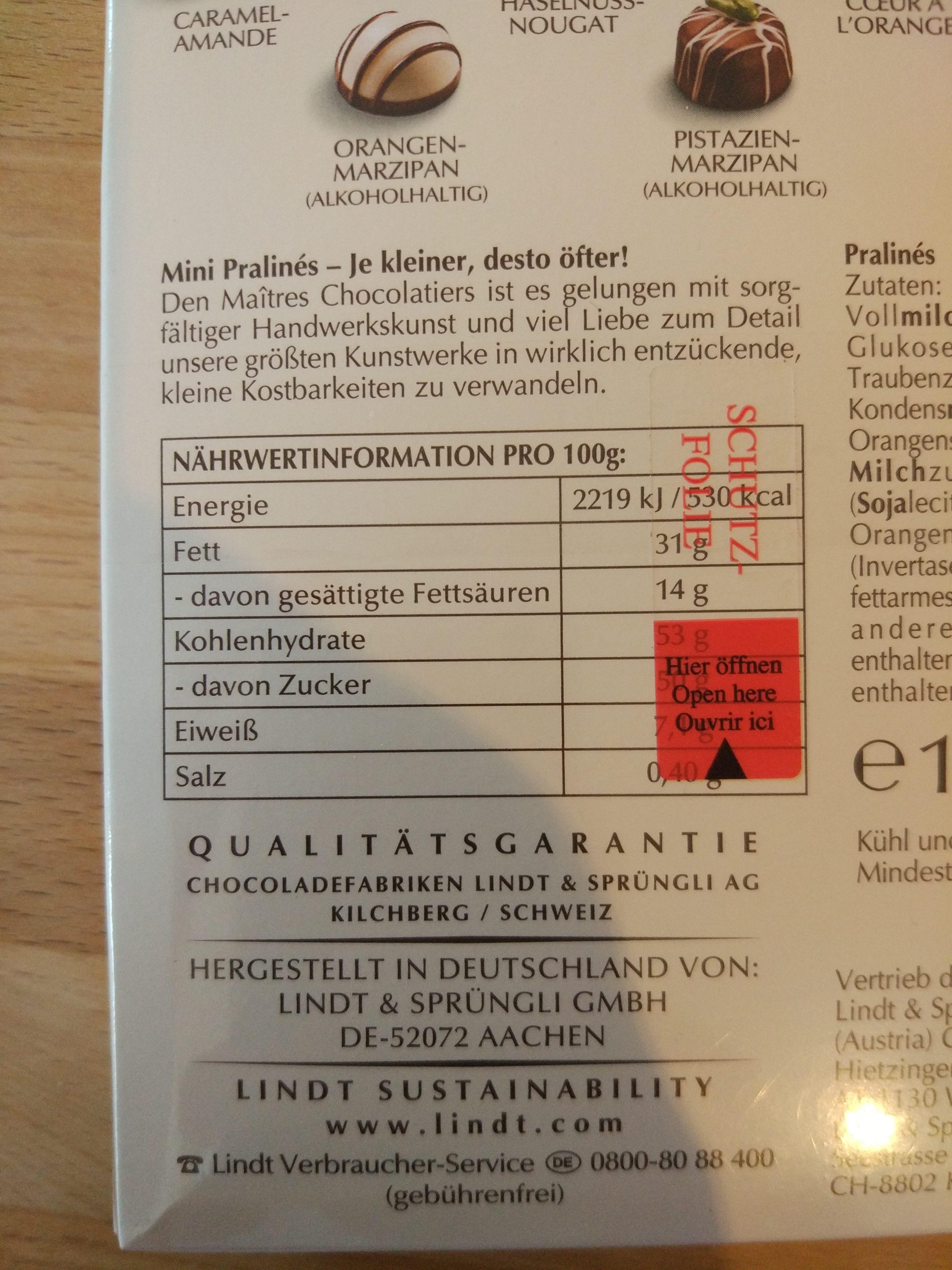 Mini Pralinés - Nutrition facts