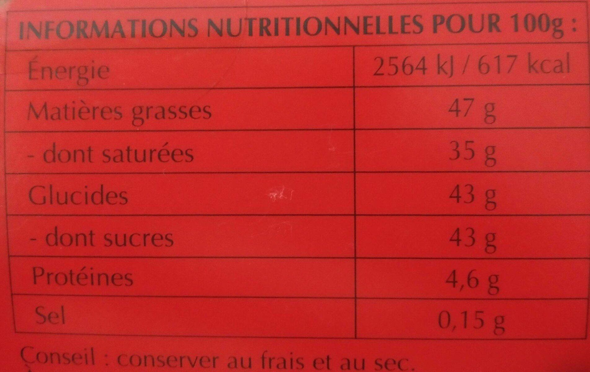 Lindor passionnément fondant lait - Nutrition facts - fr