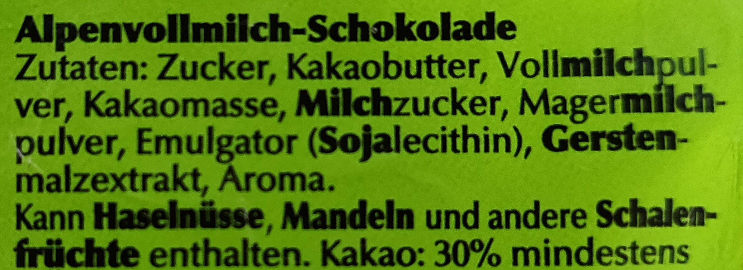 Alpenvollmilch-Schokolade - Ingredienti - de