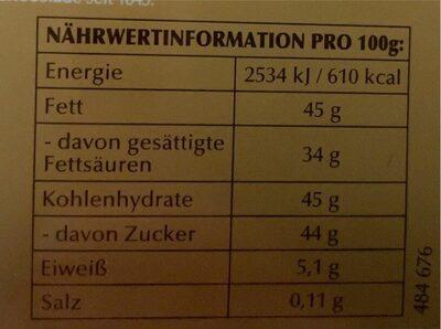 Lindt Lindor - Nutrition facts - fr