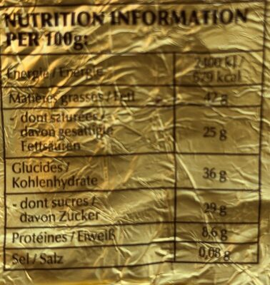 Lapin or chocolat noir 70 % cacao - Nutrition facts
