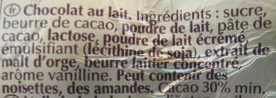 Lapin Or chocolat au lait - Ingredienti - fr