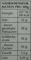 Goldhase - Nutrition facts - de