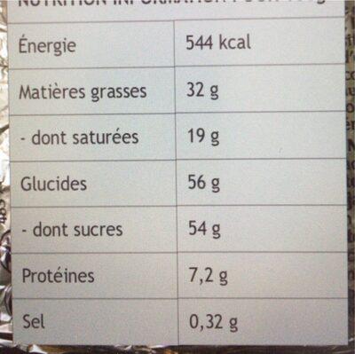 Lapin d'or chocolat au lait - Informação nutricional - en