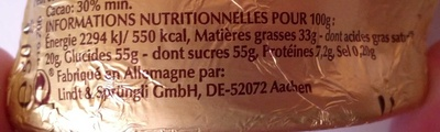 LAPIN OR - Informations nutritionnelles - fr