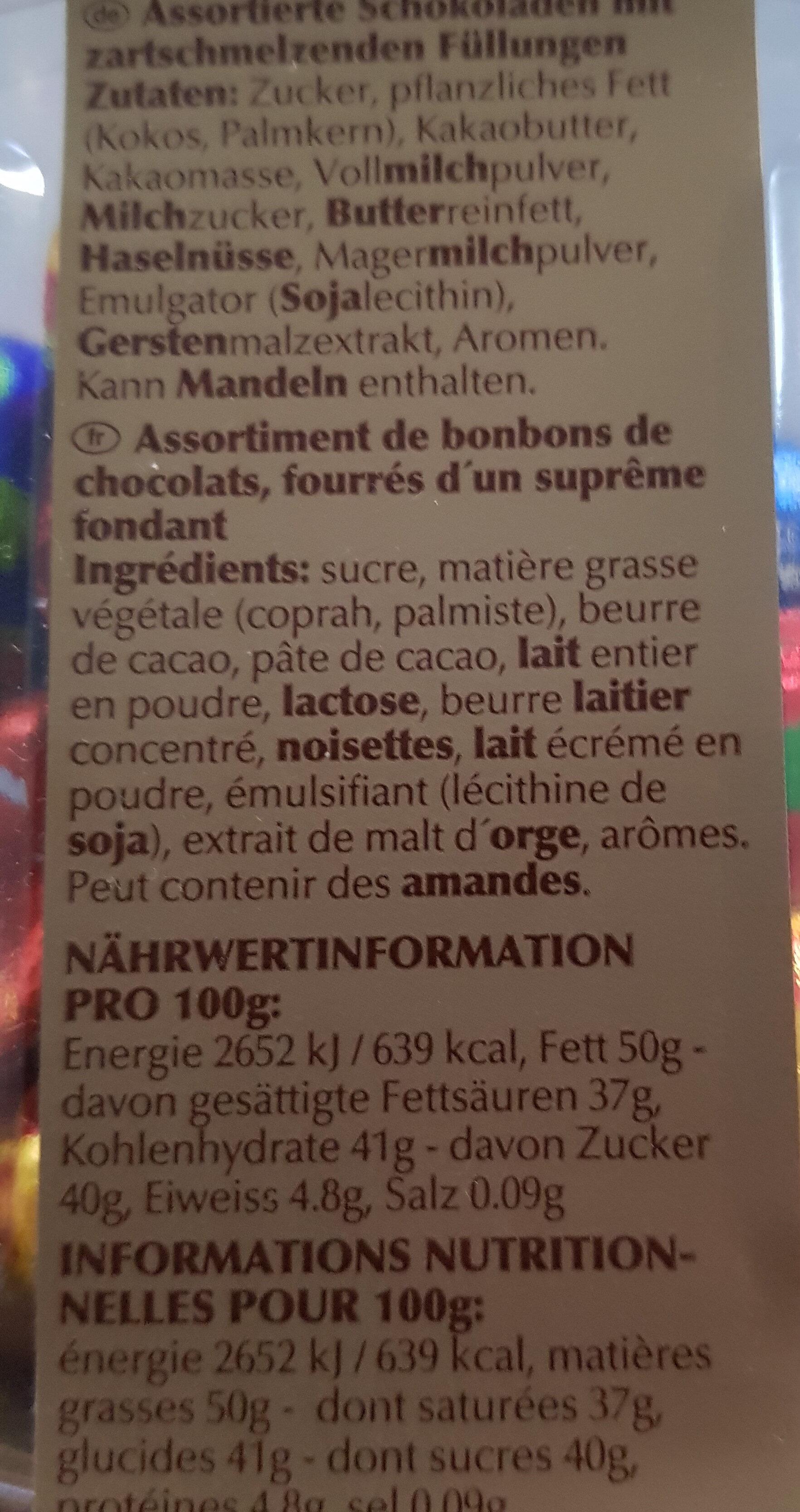 Lindor - Ingrediënten