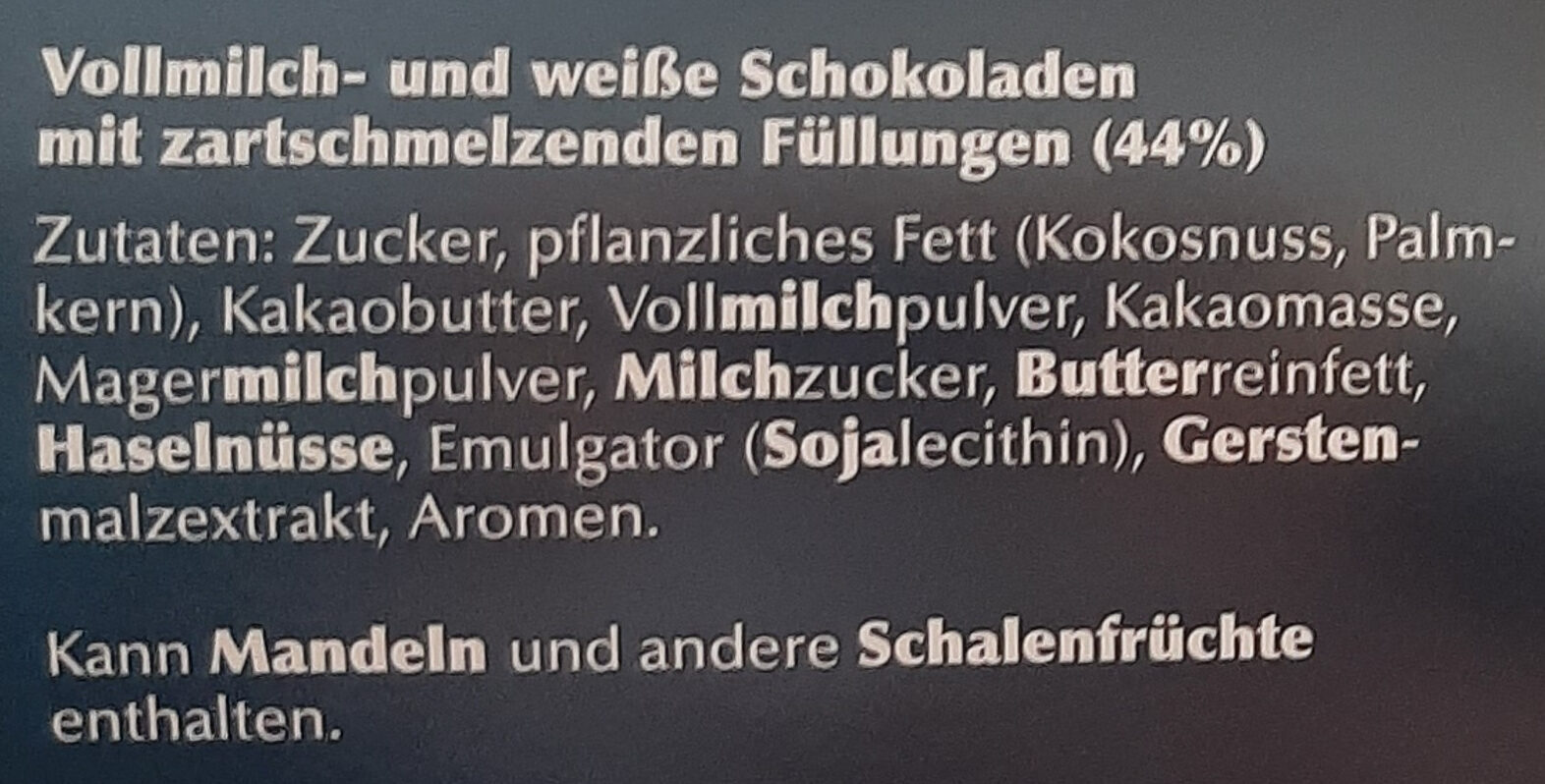 Lindt Frohes Fest - Zutaten - de