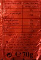 Schokoladen-Weihnachtsmann - Nutrition facts