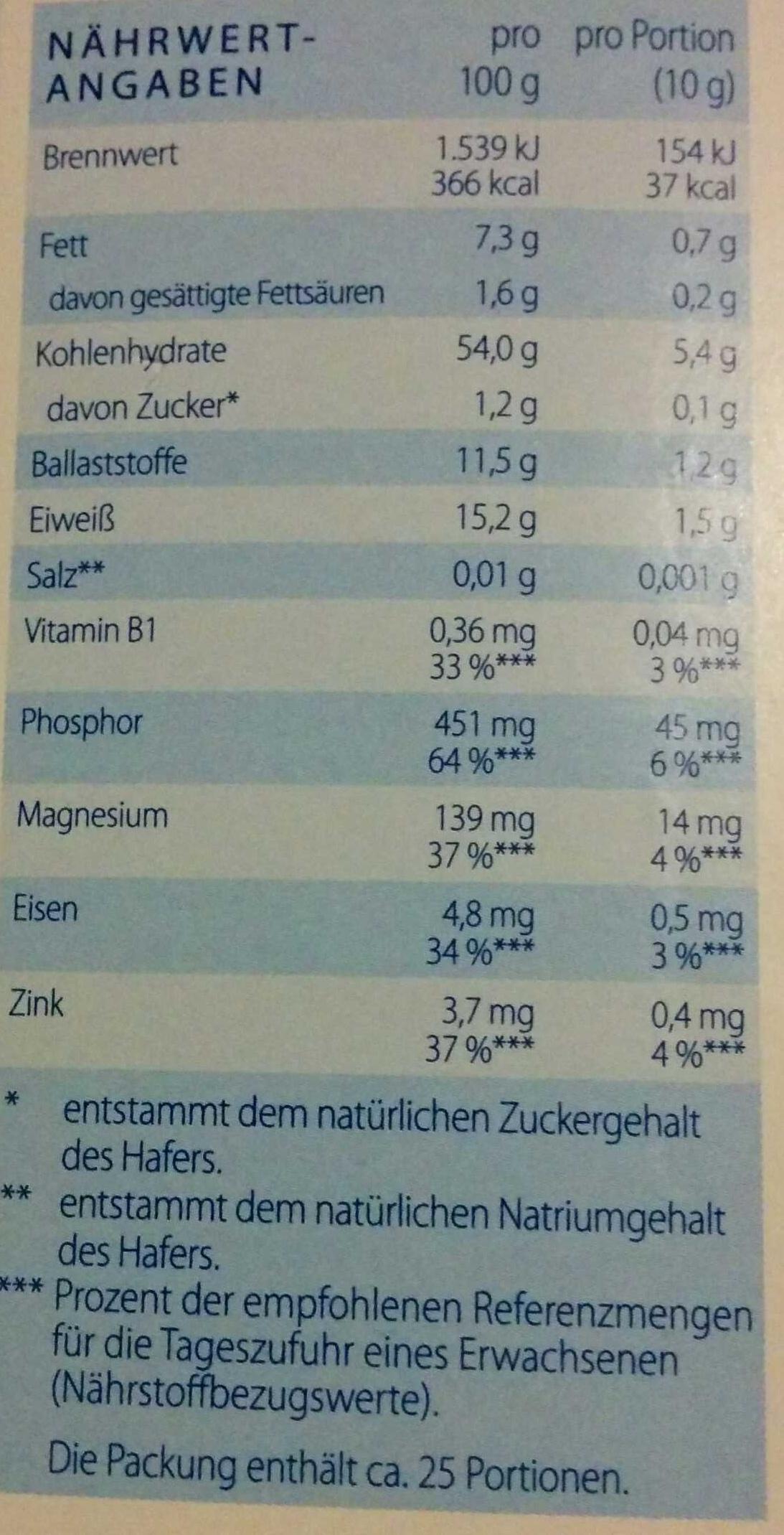 Instant Flocken - Informations nutritionnelles