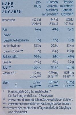 Schmelzflocken - Nutrition facts - de