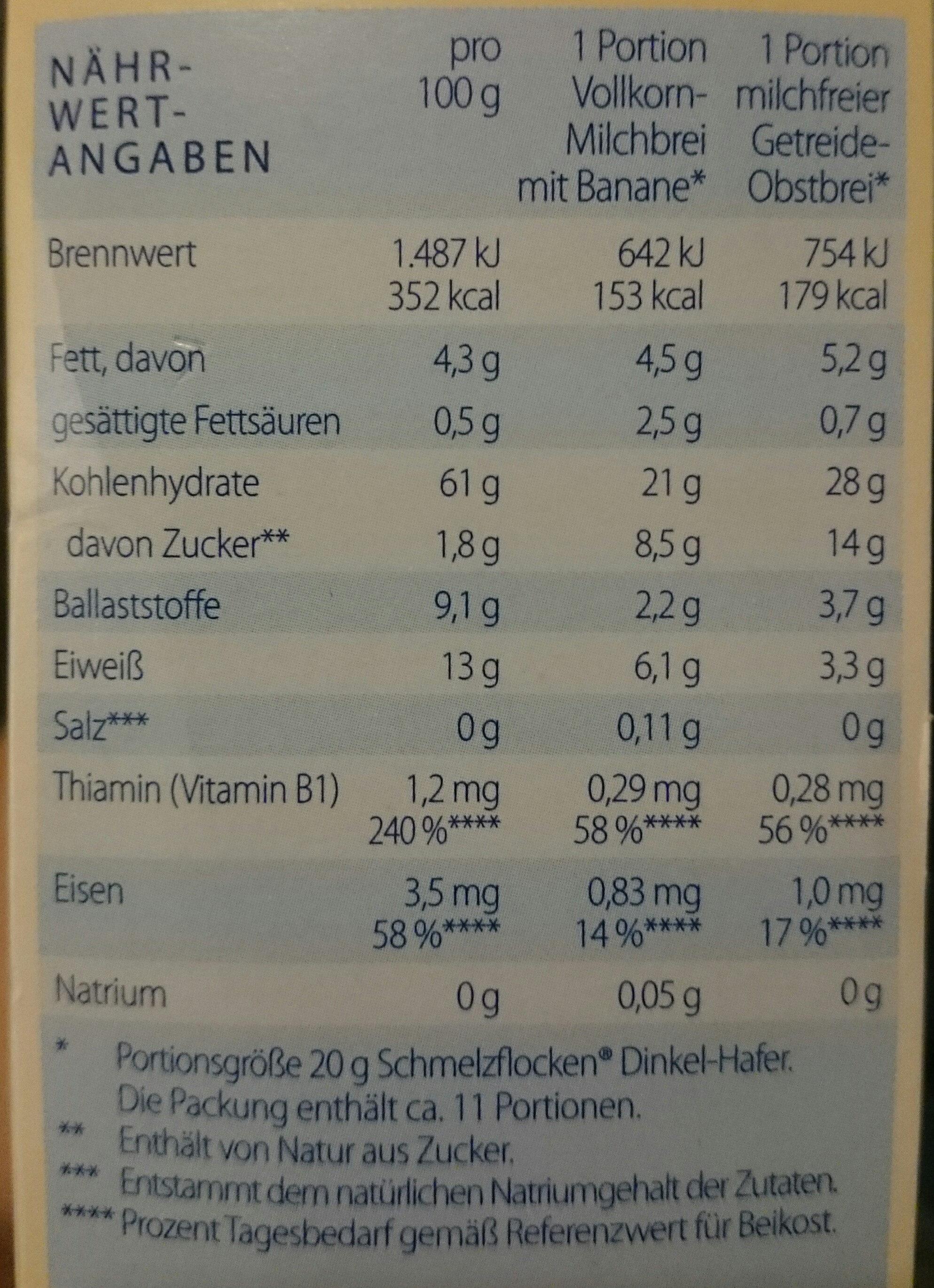 Schmelzflocken Dinkel-Hafer - Nährwertangaben - de