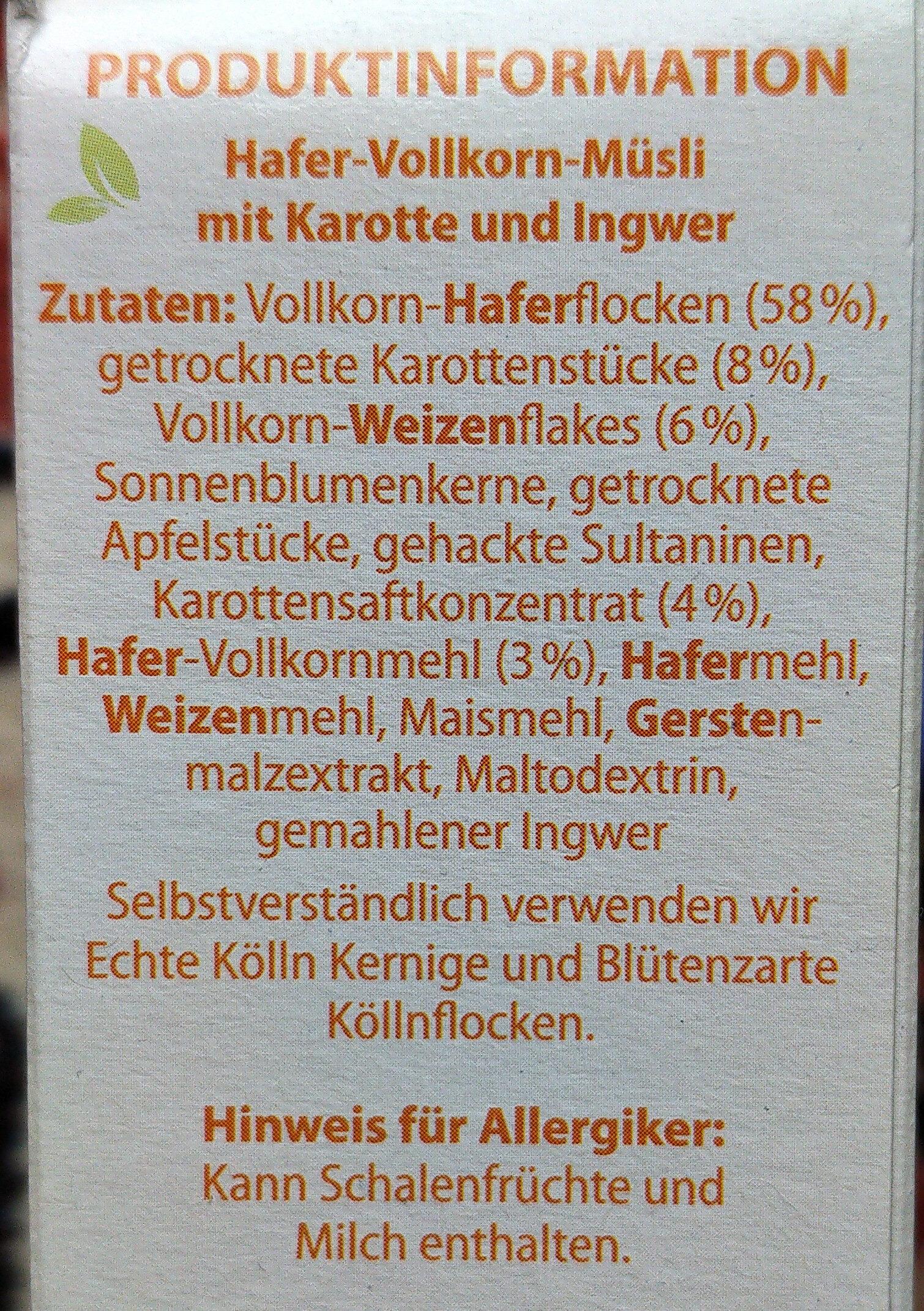 Veggie-Müsli Karotte & Ingwer - Ingredients