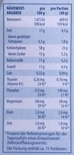 Schoko Hafer-Müsli 30% weniger Zucker - Valori nutrizionali - de