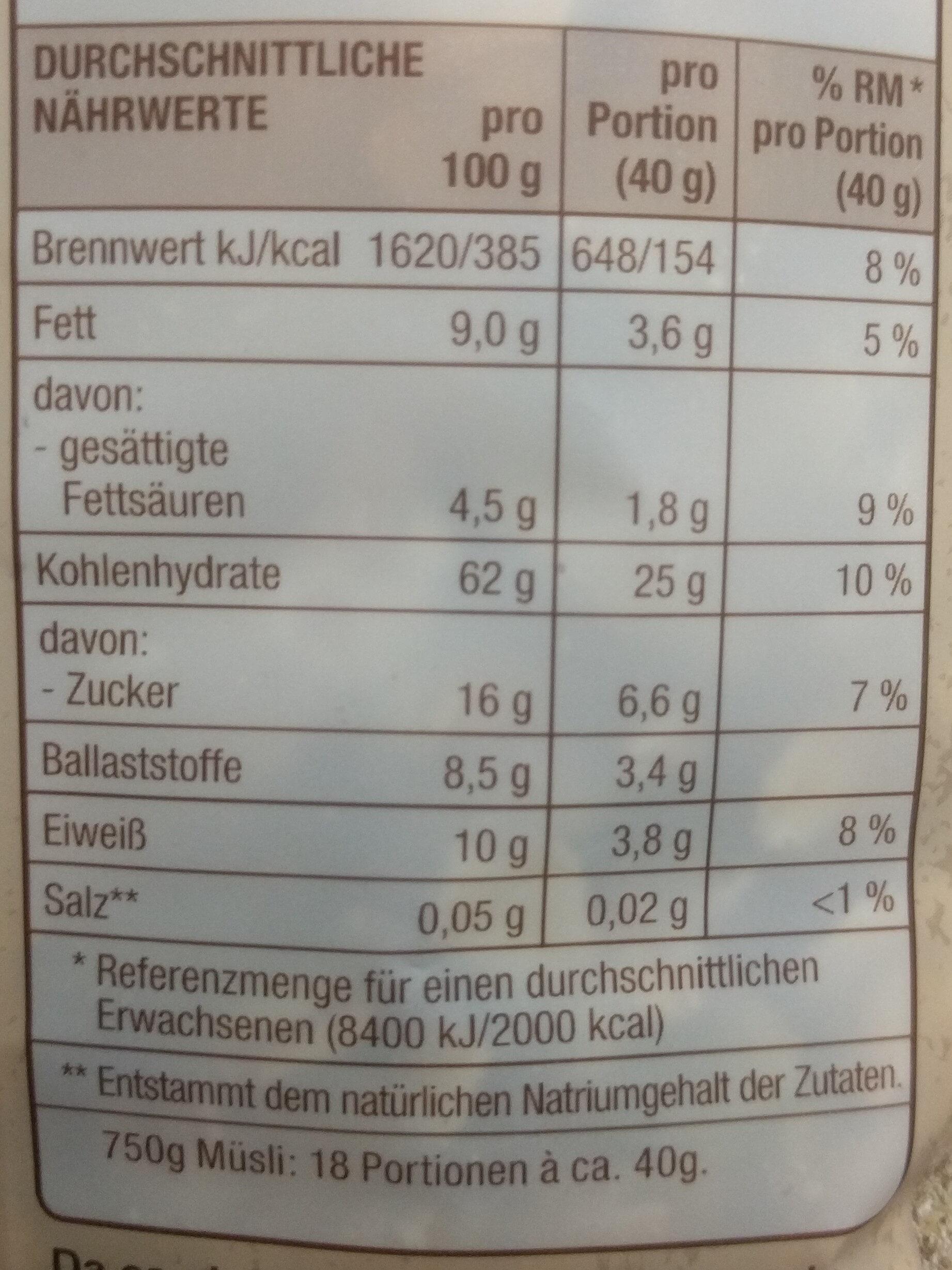 Mühlenklassiker mit viel feiner Schokolade - Nutrition facts