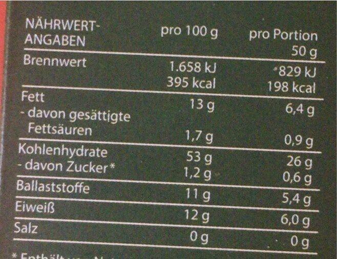 Cremig-zartes Hafer-Porridge Nuss - Nährwertangaben - de