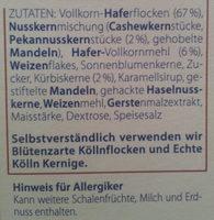 Kölln Müsli Nuss & Krokant - Ingrediënten - de