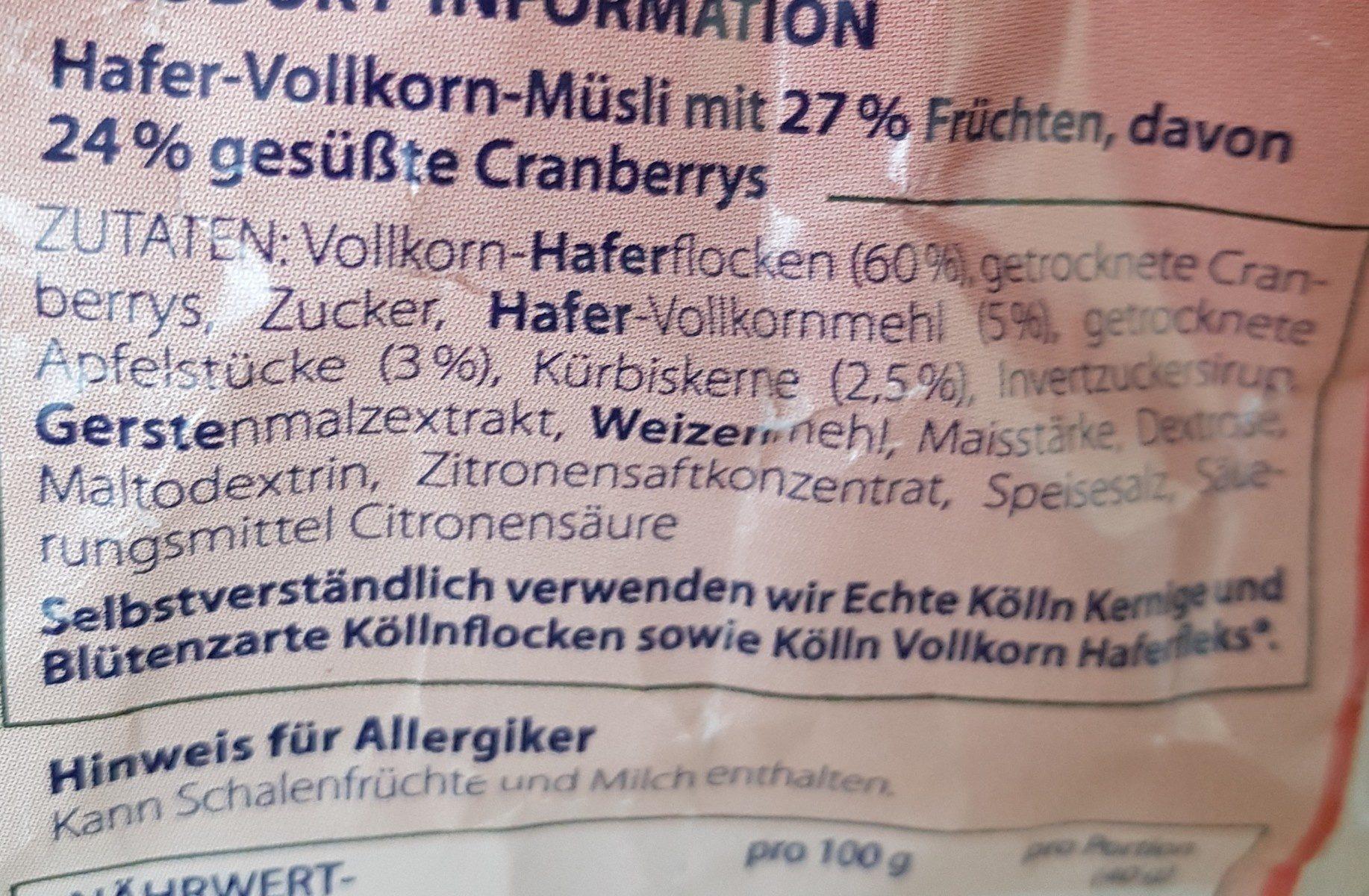 Musli cranberry - Ingredients - fr