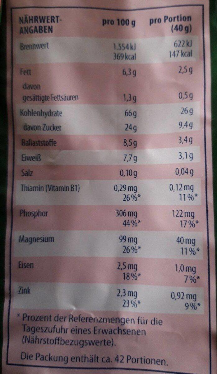Musli cranberry - Nutrition facts - fr