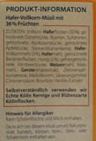 Kölln Früchte Müsli - Ingrédients - de