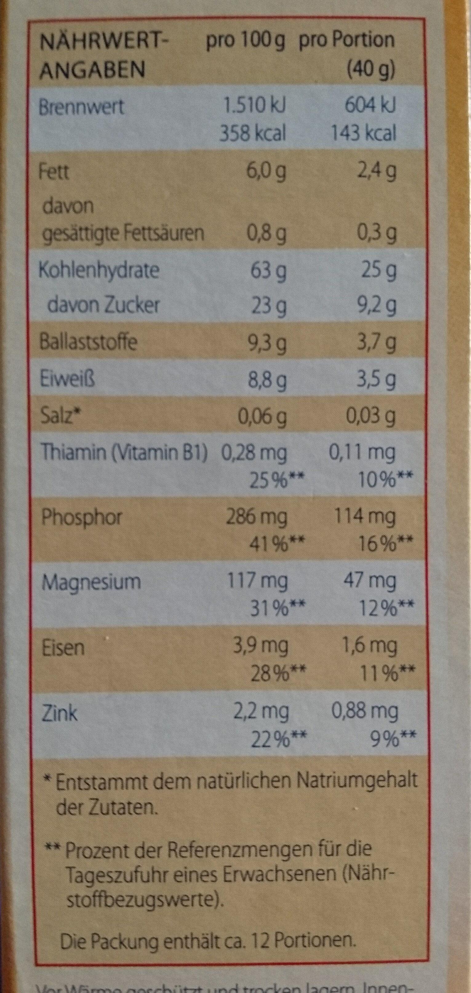 Kölln Früchte Müsli - Informations nutritionnelles - de