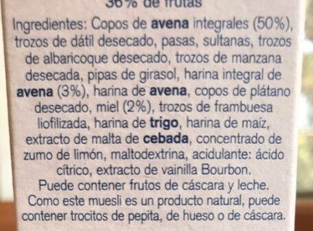 Muesli integral con fruta - Ingredientes - es