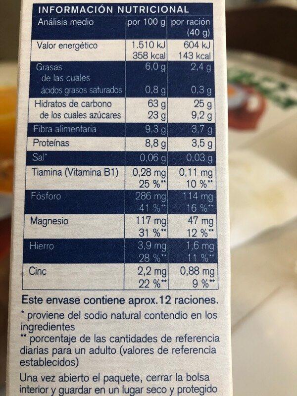 Muesli integral con fruta - Información nutricional - es