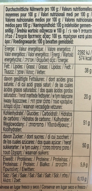 Aplen Milk Chocolate with Hazelnuts - Informations nutritionnelles