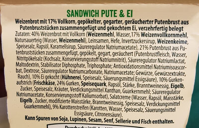 Hello Sandwich Pute & Ei - Ingredients - de