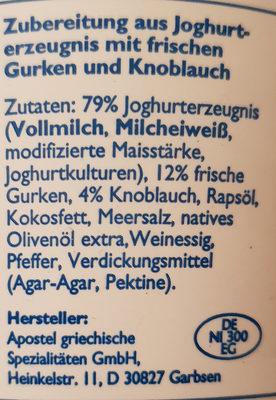 Zaziki - Ingredients