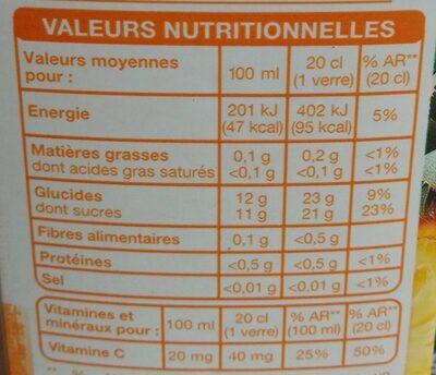 Jus ananas multifruits - Valori nutrizionali - fr