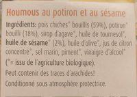 Houmous potiron et sésame - Ingredients
