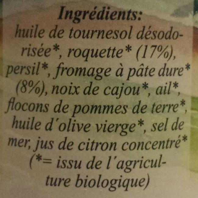 Pesto à la roquette - Ingrédients - fr