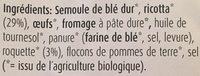 Ravioli frais à la Roquette & Ricotta - Ingredients - fr