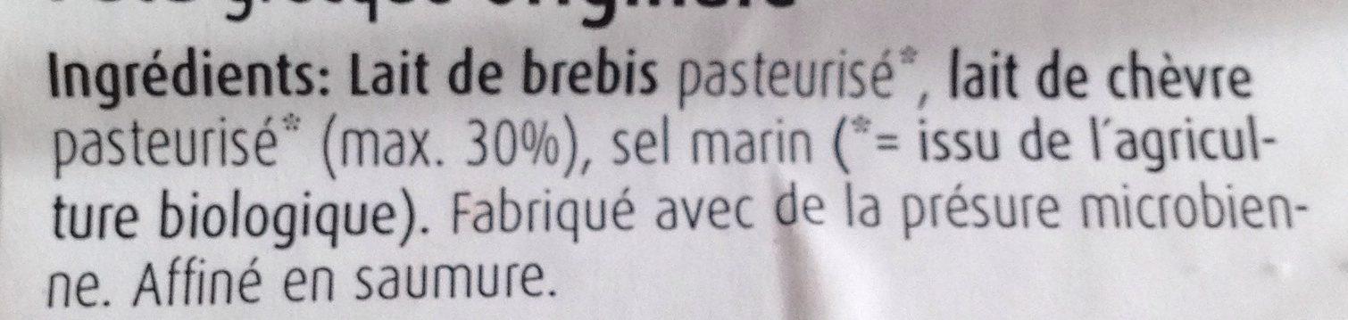 Feta Grecque Originale au Lait de Brebis et de Chèvre - Ingredients