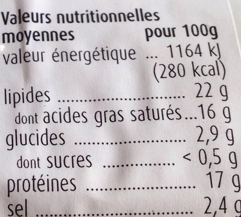 Feta Grecque Originale au Lait de Brebis et de Chèvre - Nutrition facts