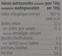 Saucisson italien à l'ail - séché 60 jours à l'air - Nutrition facts